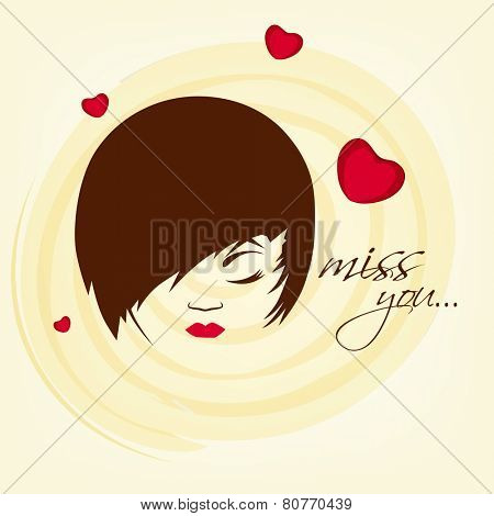 Young girl face with text Miss You on hearts decorated background for Happy Valentines Day celebration.