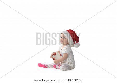 Baby Girl In Santa Hat