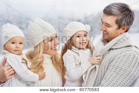 happy Family in a winter park