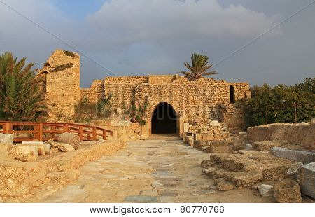 Crusaders Gate in Caesarea Maritima National Park