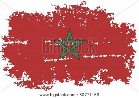 Moroccan grunge flag. Vector illustration.