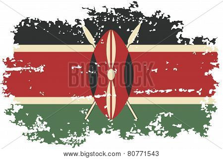 Kenyan grunge flag. Vector illustration.