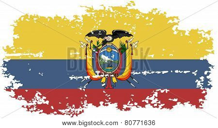 Ecuadorian grunge flag. Vector illustration.