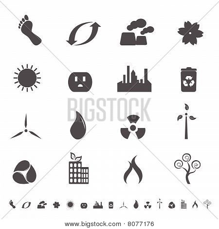 Ecologic symbols in icon set