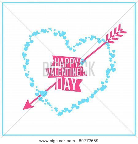 Happy Valentine's day greeting or invitation card with heart of particles and arrow. Vector illustra