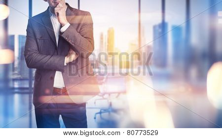 Businessman On The Office Background With Optical Effects