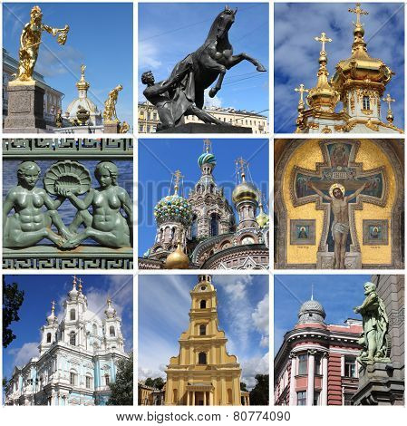 Saint Petersburg landmarks collage