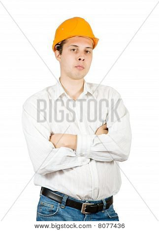 Male Construction Worker In Hard Hat