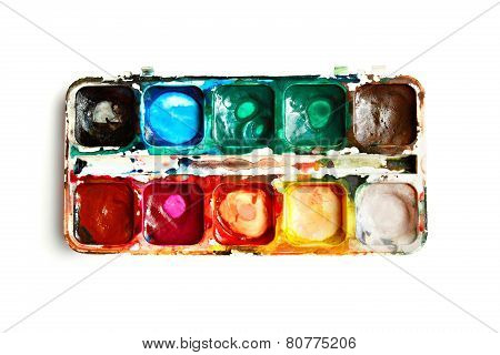 Watercolor palette isolated on white