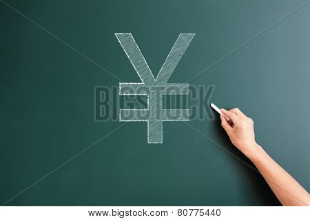 RMB icon written on blackboard