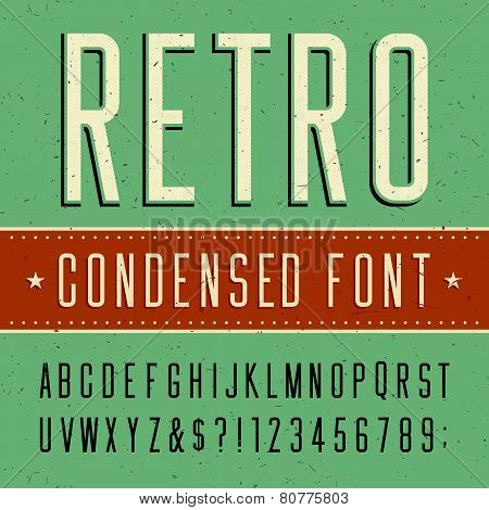 Retro alphabet vector condensed font