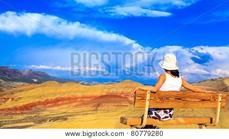 Young Woman Enjoying Painted Hills