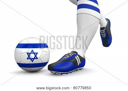 Man and soccer ball  with Israeli flag (clipping path included)