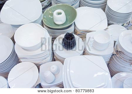 Stack Of Plates And Cups