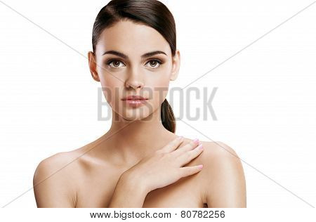 Young pretty woman with professional make-up, skin care concept