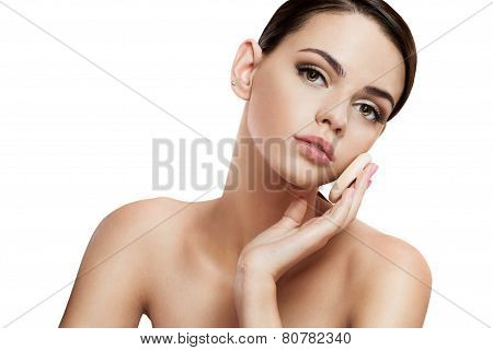 Pretty babe enjoy a flawless skin, skin care concept