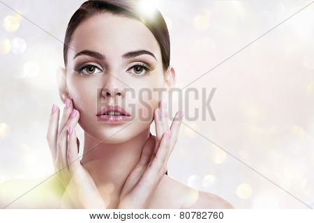 Beauty woman portrait of teen girl with clean skin