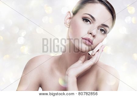 Pretty woman enjoy a flawless skin, skin care concept