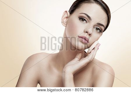Pretty female enjoy a flawless skin, skin care concept
