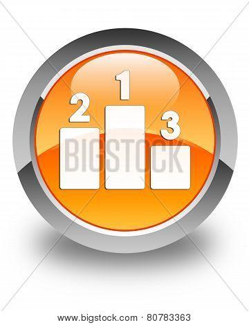 Podium Icon Glossy Orange Round Button