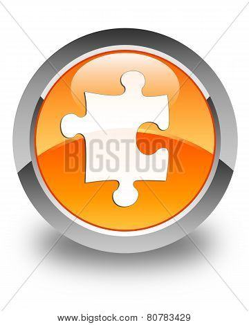 Puzzle Icon Glossy Orange Round Button