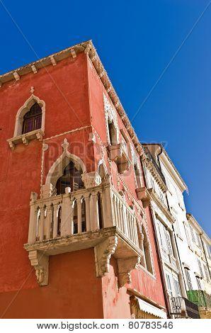 Colorful building at Tartini square in Piran, town in Istria
