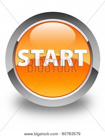 Start Glossy Orange Round Button