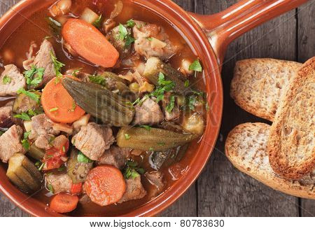 Pork and okra gumbo, cajun style stew