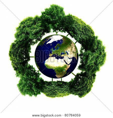 Ecology planet with with trees around. eco earth