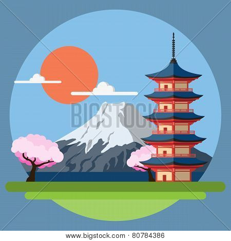 Flat Design Landscape Of Japan