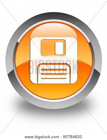 Floppy Disk Icon Glossy Orange Round Button