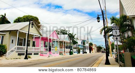 KEY WEST, FLORIDA - MARCH 23, 2009:  These cottage homes in Key West, Florida are indicative of the colorful style of this town,