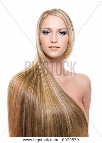 Woman With Long Straight Blond Hair