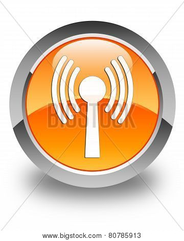 Wlan Network Icon Glossy Orange Round Button