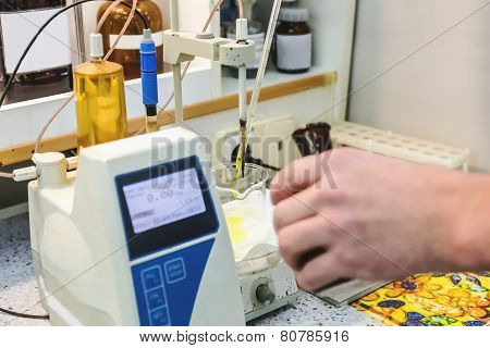 Laborant Makes Test In Laboratory