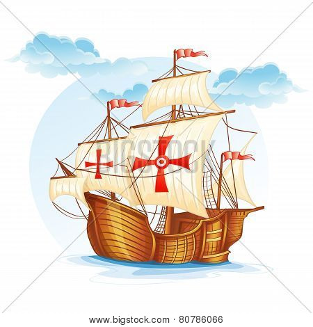 Cartoon image of a sailing ship of Spain XV century.
