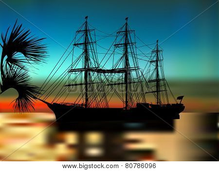 illustration with ship silhouette at dark sunset