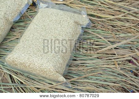 Rice In Vacuum Plastic Bag