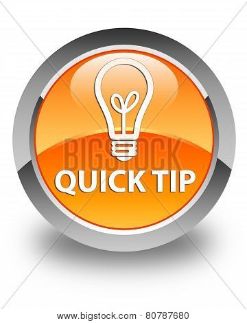 Quick Tip (bulb Icon) Glossy Orange Round Button