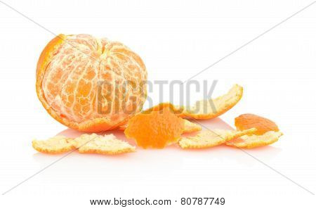 Single Peeled Mandarine With Rind Isolated On White