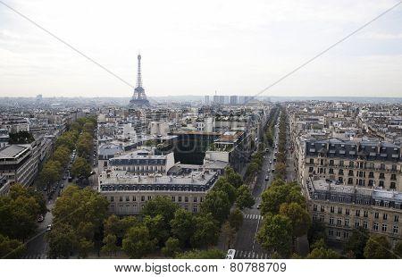 Eiffel tower, panorama view of paris