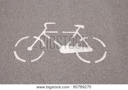 Painted Sign White  Bicycle  Closeup