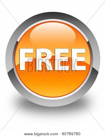 Free Glossy Orange Round Button