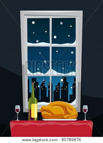 Romantic Dinner With Turkey On Table Near Window