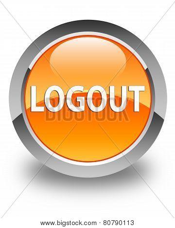 Logout Glossy Orange Round Button