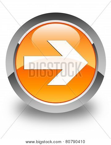 Next Arrow Icon Glossy Orange Round Button