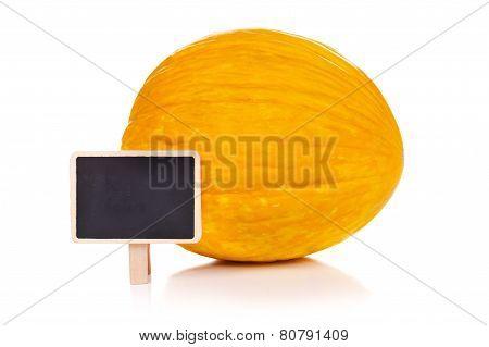 Yellow Melon With Blackboard