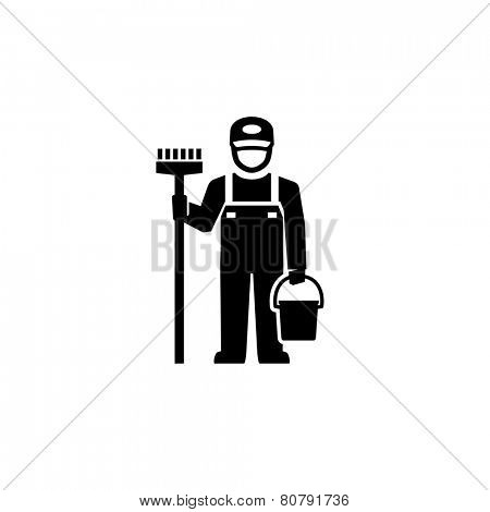 Cleaner Man standing with broom Pictogram Figure icon