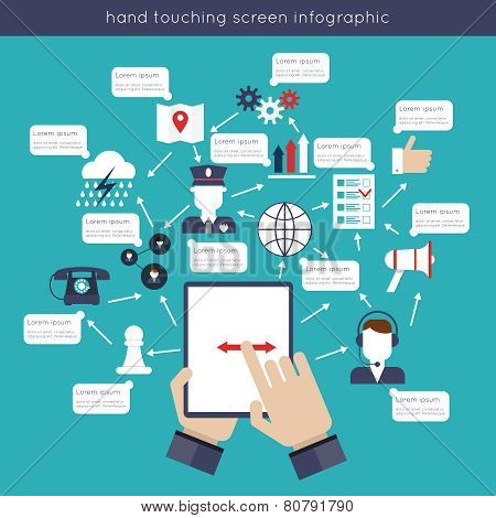 Hand Touching Screen Infographics
