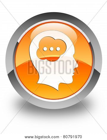 Brain Head Icon Glossy Orange Round Button